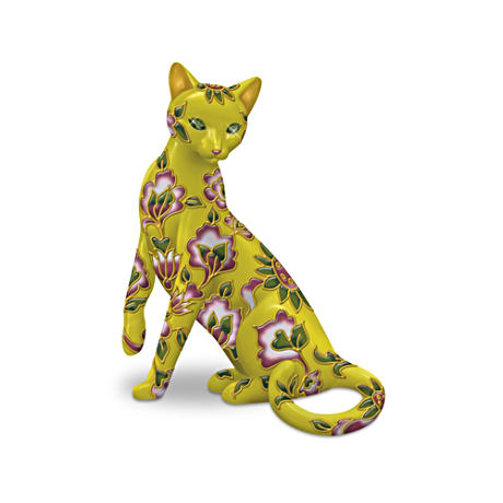 Cloisonné-Style Cat Figurine With Sparkling Eyes