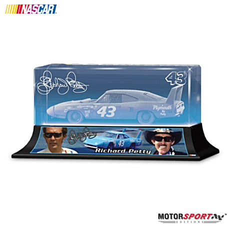 Richard Petty #43 Laser Etched Glass Block
