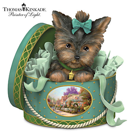 A Yorkie Inspired By Thomas Kinkade's Lamplight Lane Art