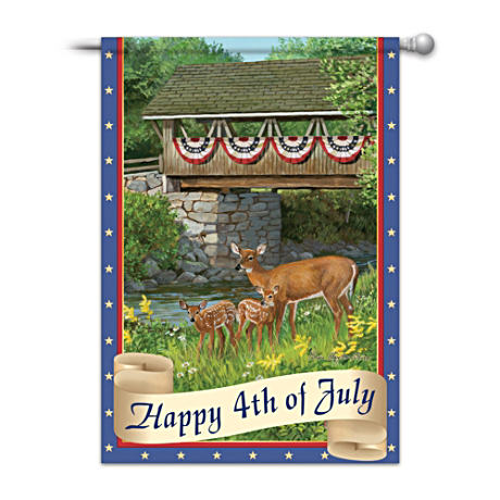 """Happy 4th Of July"" Deer Art Flag By Persis Clayton Wiers"