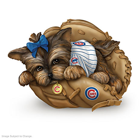 "Chicago Cubs ""Fur-Ever A Fan"" Yorkie Figurine"