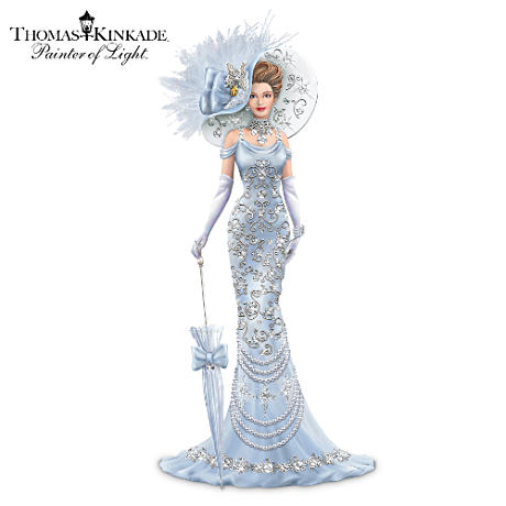 Thomas Kinkade Elegant Lady Figurine With Swarovski Crystals