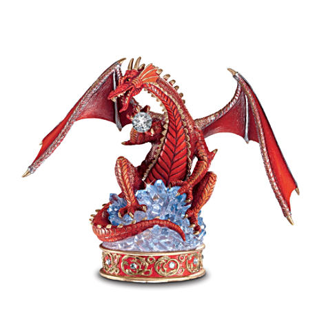 Guardian Red Dragon Figurine With Swarovski Crystal