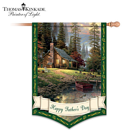 "Thomas Kinkade ""Happy Father's Day"" Decorative Flag"