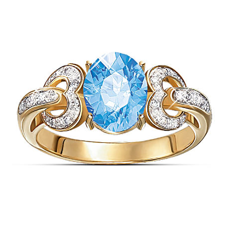 """Heart To Heart"" 2-1/2 Carat Blue Topaz And Diamond Ring"