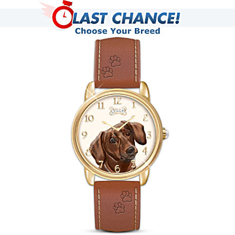 """Loyal Companion"" Engraved Dog Art Watch"