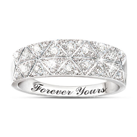 """Diamond Radiance"" 18-Diamond White Gold Ring With Engraving"