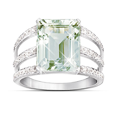 """Sheer Radiance"" 5-1/2 Carat Green Amethyst & Diamond Ring"