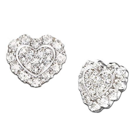 """Hearts Of Love"" 24-Diamond Earrings"