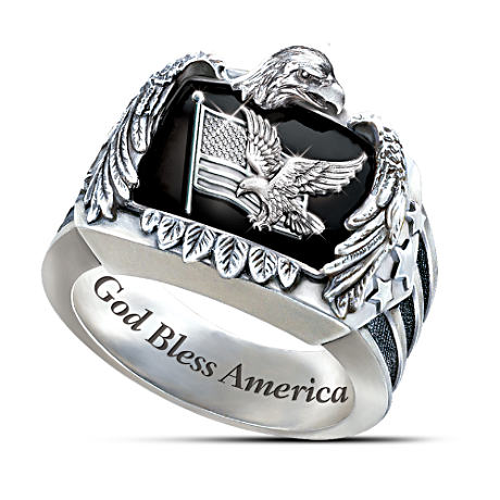 Sculptural American Eagle Sterling Silver Men's Ring