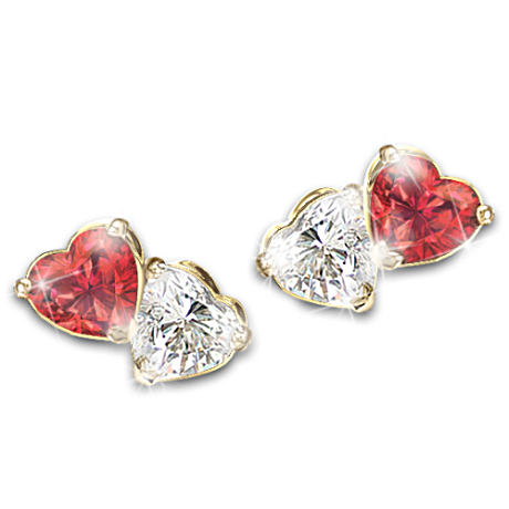 """Two Hearts, One Love"" Garnet And Topaz Earrings"