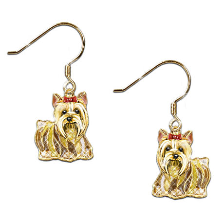 """Best In Show"" Yorkie Earrings With Swarovski Crystals"