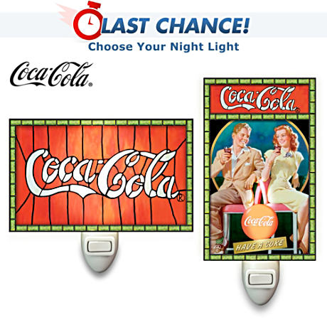 Officially Licensed COCA-COLA Stained-Glass Night Lights