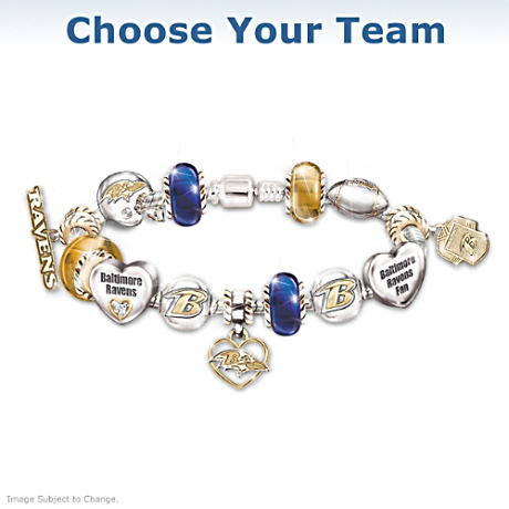 NFL Charm Bracelet With Swarovski Crystals: Choose Your Team