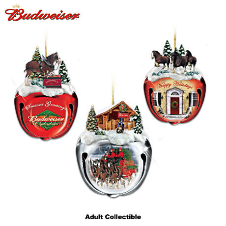 Budweiser Clydesdales Sleigh Bells Ornaments: Set Of Three