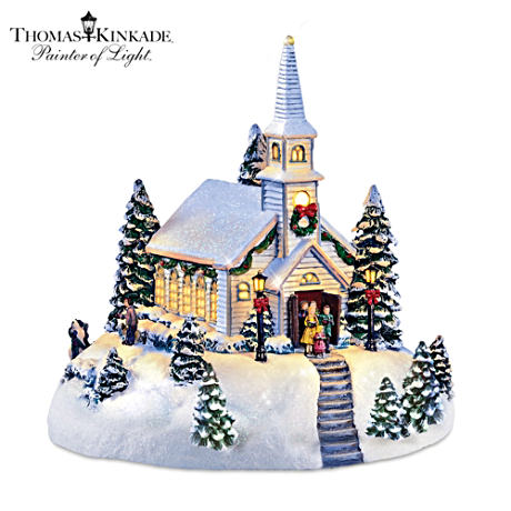 Thomas Kinkade Holy Night Chapel Lighted Musical Sculpture