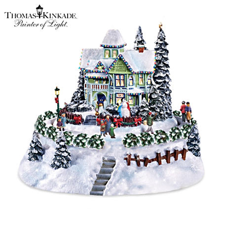 Thomas Kinkade Lighted Animated Bed And Breakfast Sculpture