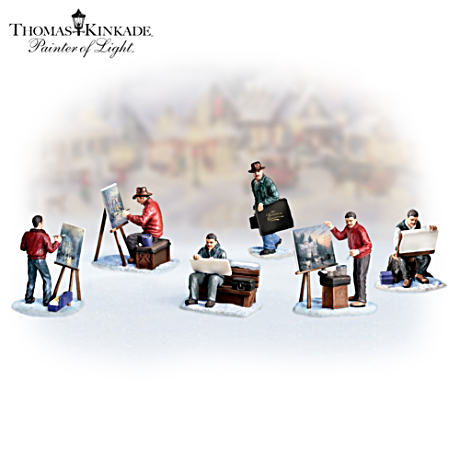 "Thomas Kinkade ""Painter Of Light"" Village Figurine Set"