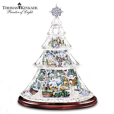 Kinkade Crystal Tabletop Tree With Moving Train, Lit Village