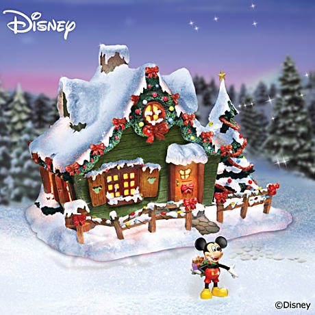 Disney Mickey Mouse Illuminated Christmas Cottage Sculpture