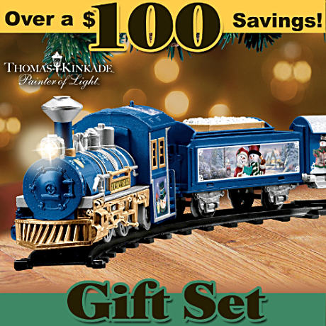 Thomas Kinkade Holiday Art Battery-Powered Train Set