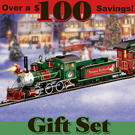 Norman Rockwell Holiday Art Electric Train Set