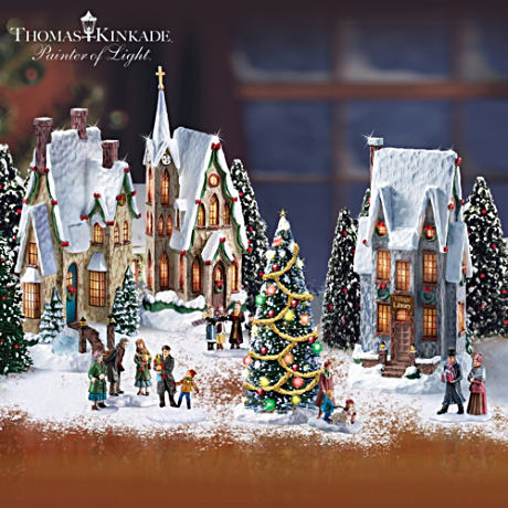 Thomas Kinkade Illuminated Christmas Village With Figurines