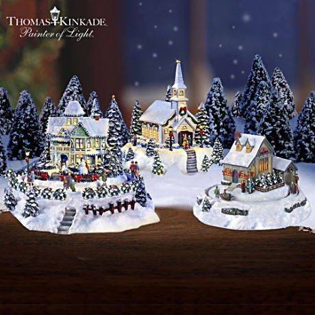 Thomas Kinkade Miniature Village With Light, Motion & Music