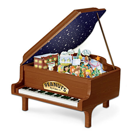 PEANUTS Illuminated Animated Christmas Story Piano Sculpture