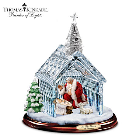 Thomas Kinkade Crystal Chapel With Santa Nativity Scene