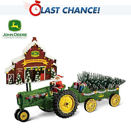 John Deere Holiday Harvest Illuminated Tractor Sculpture Set