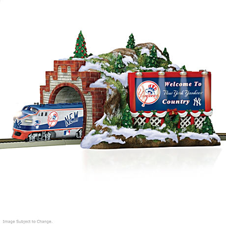 New York Yankees Christmas Mountain Train Tunnel
