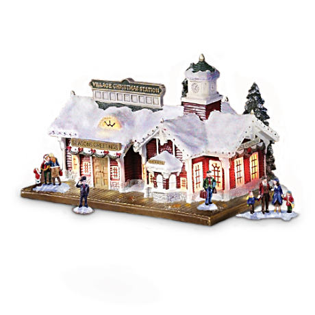 Lighted Musical Train Station Inspired By Thomas Kinkade Art