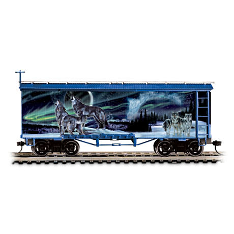 On30-Scale Al Agnew Wolf Art Glow-In-The-Dark Train Car
