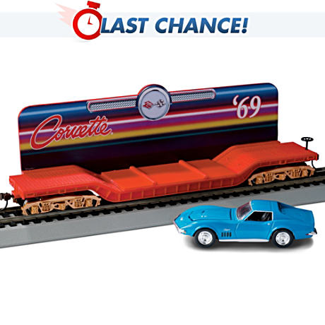 HO-Scale Train Car With Removable '69 Corvette Diecast Car
