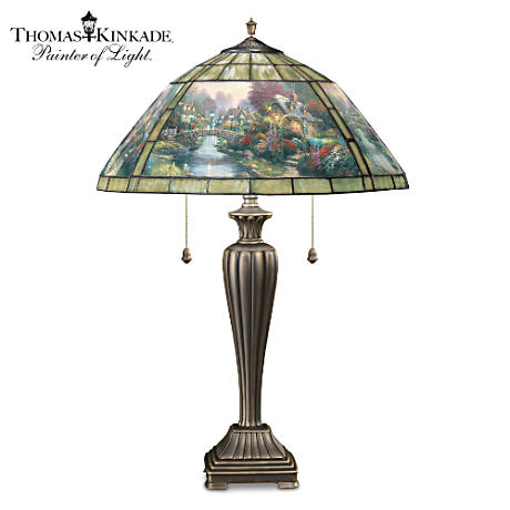 "Thomas Kinkade's ""Lamplight Bridge"" Stained-Glass Table Lamp"