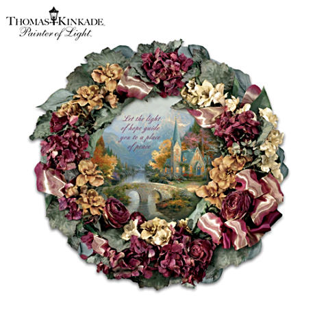 "Thomas Kinkade Wreath Featuring ""Mountain Chapel"" Art"