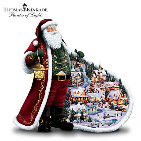 "Thomas Kinkade Illuminated ""Santa's Holiday"" Figurine"