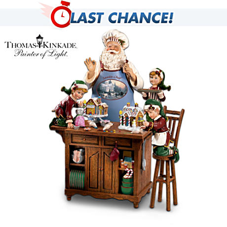 "Thomas Kinkade Santa's ""Baking Workshop"" Figurine"