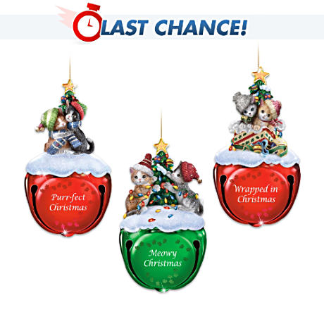 Holiday Kitten Jingle Bells Ornament Collection