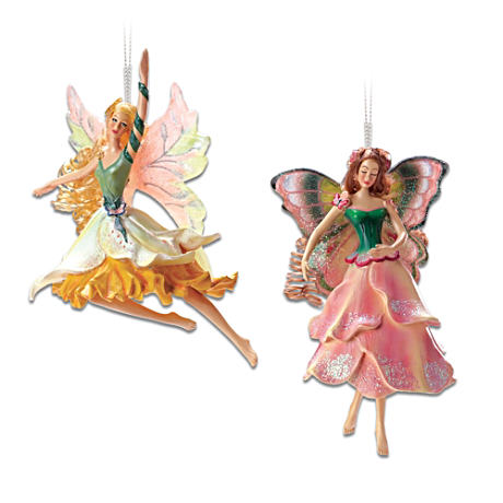 Garden Flower Fairy Ornaments With Swarovski Crystals