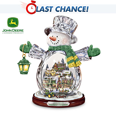 Lighted, Animated John Deere Crystal Snowman
