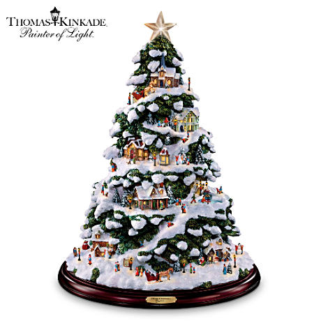 "Thomas Kinkade ""Village Christmas"" Illuminated Tabletop Tree"