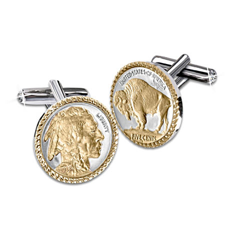 Genuine U.S. Buffalo Nickel Cuff Links With Diamonds