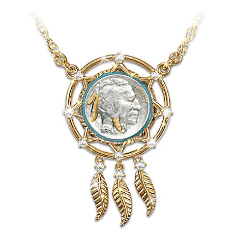 Buffalo Nickel Dreamcatcher Necklace With 24K Gold Plating