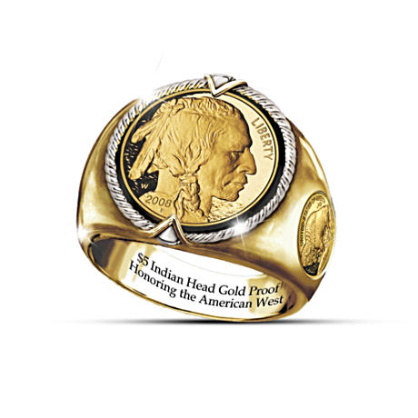 The $5 Indian Head Proof-Inspired Engraved Men's Ring