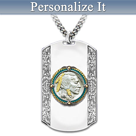 """""""Spirit Of The West"""" Personalized Dog Tag Pendant Necklace"""