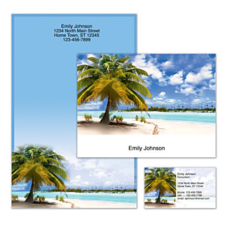Personalized Stationery With Exotic Tropical Beach Scenery