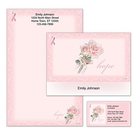 Personalized Roses Stationery Supports Cancer Awareness