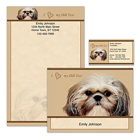 Personalized Stationery With Realistic Shih Tzu Portrait
